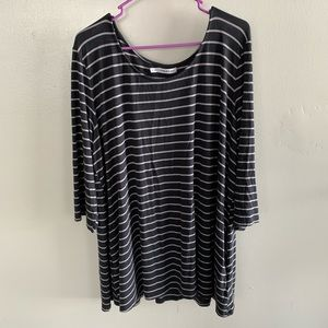 Maurices Gray and White Stripe Tunic Top
